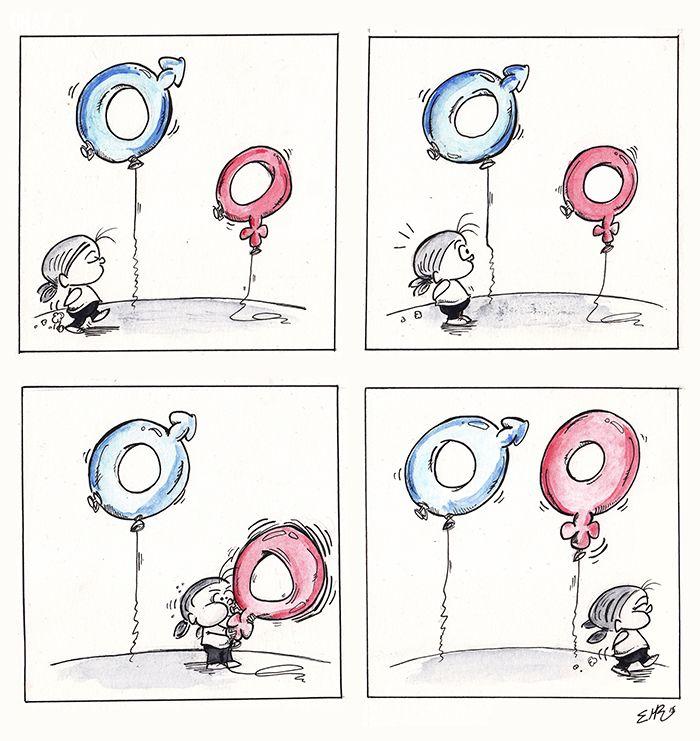 tranh biếm họa về bình đẳng giới