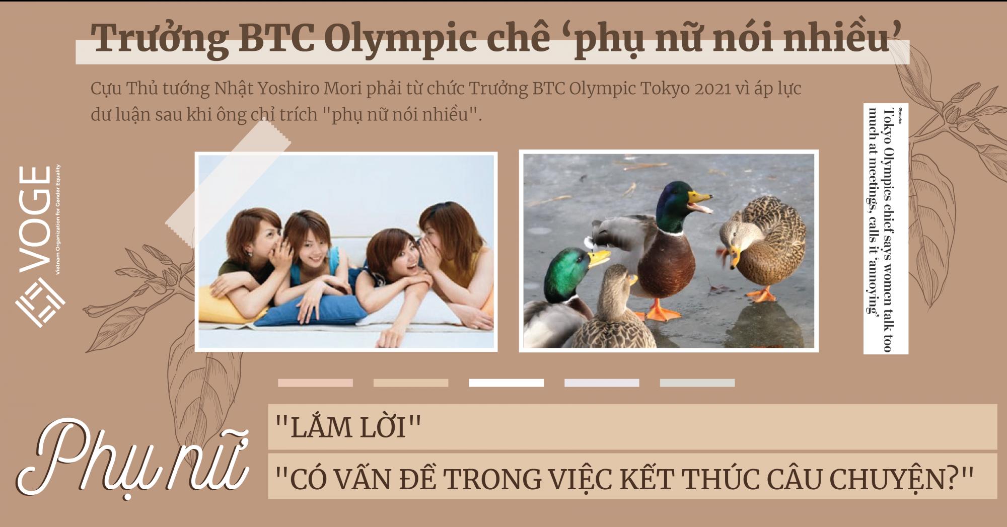 Cựu Trưởng BTC Tokyo Olympic chê phụ nữ lắm lời